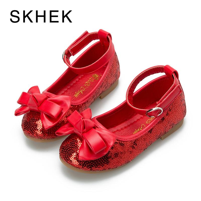 Skhek Niñas niños solo Zapatos Primavera Verano grandes Niñas Zapatos moda princesa niños zapatilla Zapatos de cuero rojo, azul SKU H07