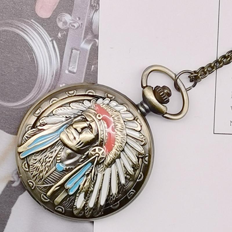 New Fashion Ancient Indian Old Man Colorful Portrait Design Quartz Fob Pocket Watch Bronze Pendant Necklace Chain Souvenir Gifts