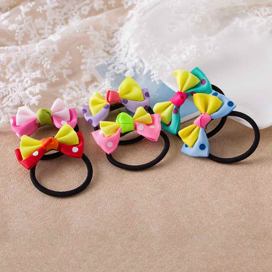 New Cute Candy Color Hair Dot Bows Elastic Hair Bands Girls Rubber Band Headbands For Women Tie Gum Hair Rope Hair Accessories