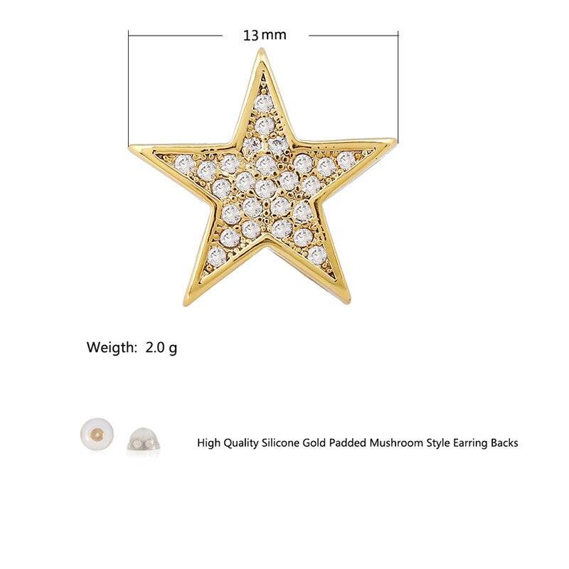 LuReen Luksusowy Złoty Srebrny Gwiazda Kolczyki męskie Micro Pave - Modna biżuteria - Zdjęcie 5