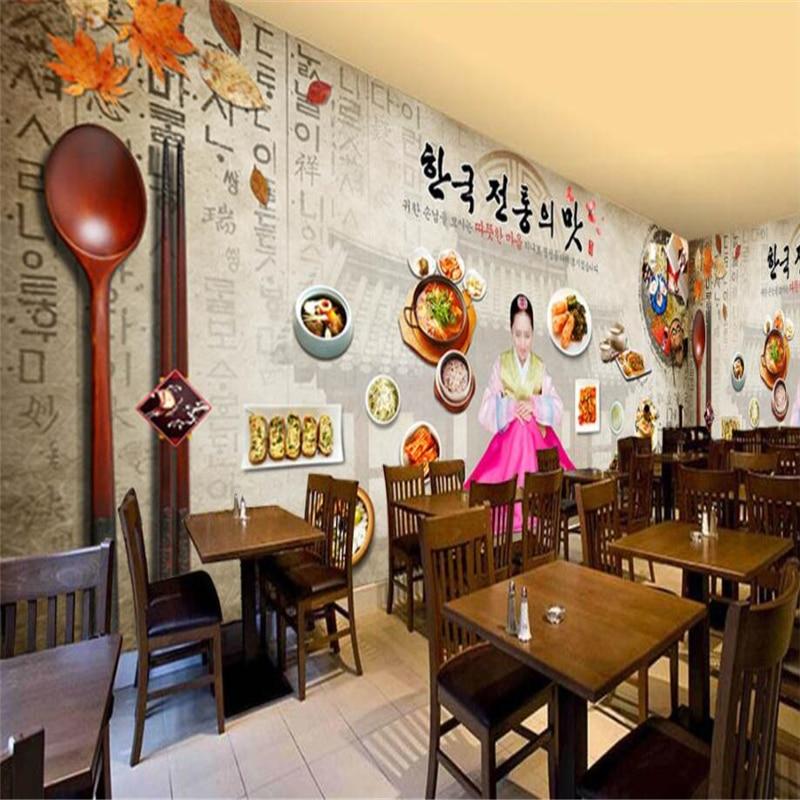 korean background living bedroom beibehang nostalgic cuisine decorative retro custom wall tv