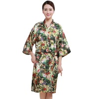 Salon Client Gown Robe Poppy Flower Pattern Black Smock Kimono Hairdressing Cape Dress Beauty SPA Hotel Barber Guest Cloth Gown