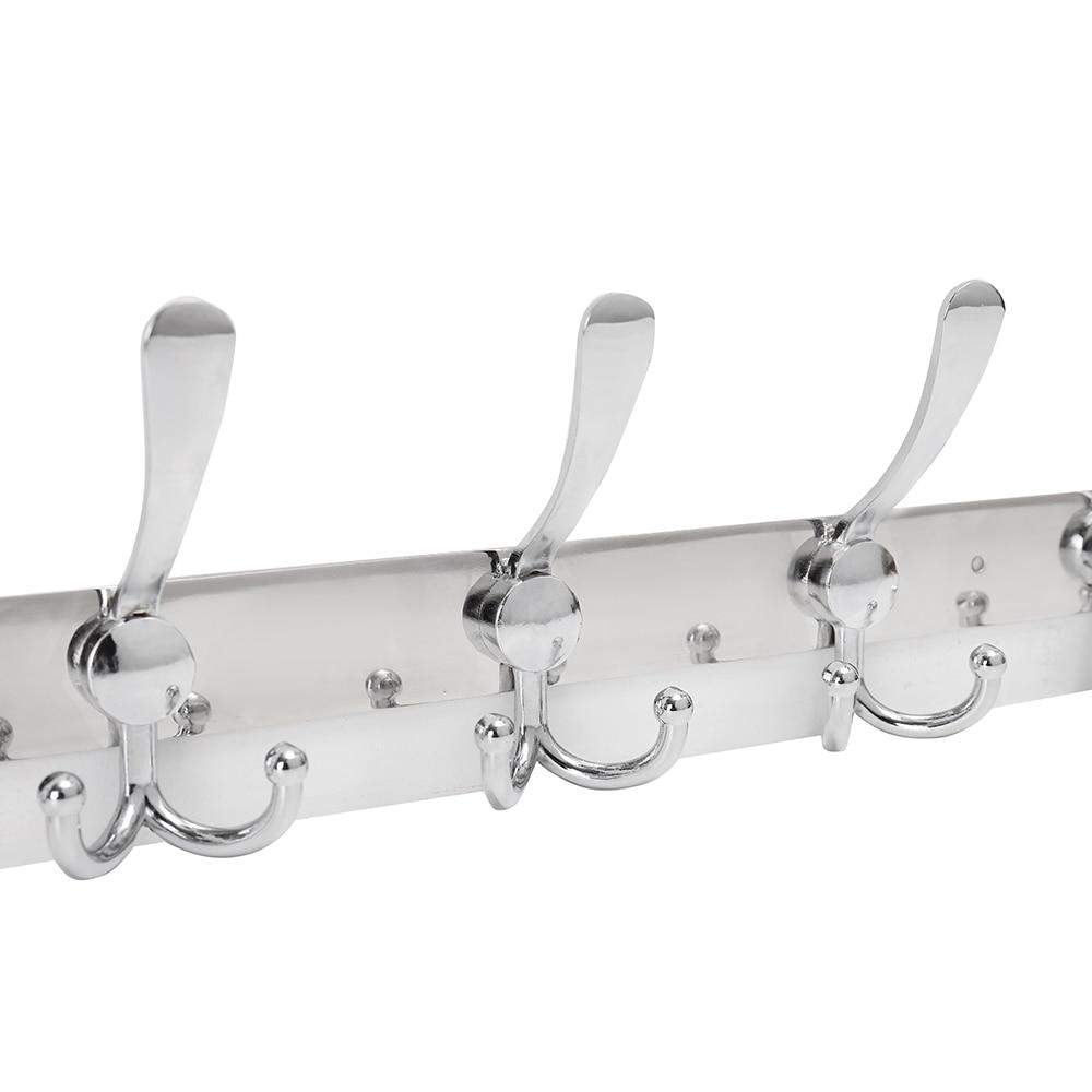 Contemporary 10 Hooks Stainless Steel Robe Rack Wall Mounted Bathroom Towel Rack Storage Holders Racks