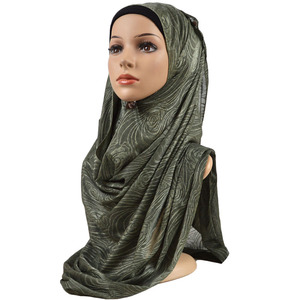 Image 3 - Feminino elástico liso algodão flor hijab cachecol elástico muçulmano hijab headwear envoltórios macio confortável xales atacado 10 pçs/lote