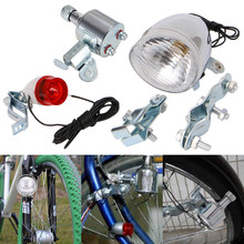 12V 6W Bicycle Motorized Bike Friction generator Dynamo Headlight Tail Light Kit   2017,JULY,10