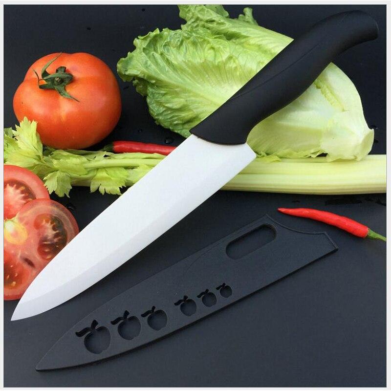 Cuchillo de cocina de cerámica de 8 pulgadas, cuchillo Cuchillo de pelado de frutas para Chef, cuchillo de cerámica circonio de un solo Mango, 1 pieza de color al azar