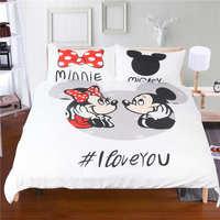 סטי מצעים מודפסים מיקי מיני מאוס תינוקת של בנות ילדים כיסויי מיטה ארוג 400TC בגודל קינג מלכה מלאה תאום לבן שחור אדום