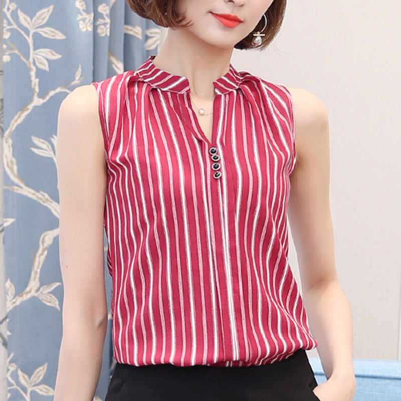 Fashion Woman Blouses Summer Tops for Women Tops and Blouses Ladies Tops Sleeveless Blusa Feminina Plus Size XXXL Red/Black
