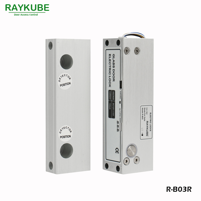 RAYKUBE Glass Door Lock Electric Bolt Lock For Frameless Glass Door Access Control System Using for Right Opening Door R-B03R fcl 300a wooden glass anti fire bi directional door 500 000 times reliable power on lock electric bolt lock