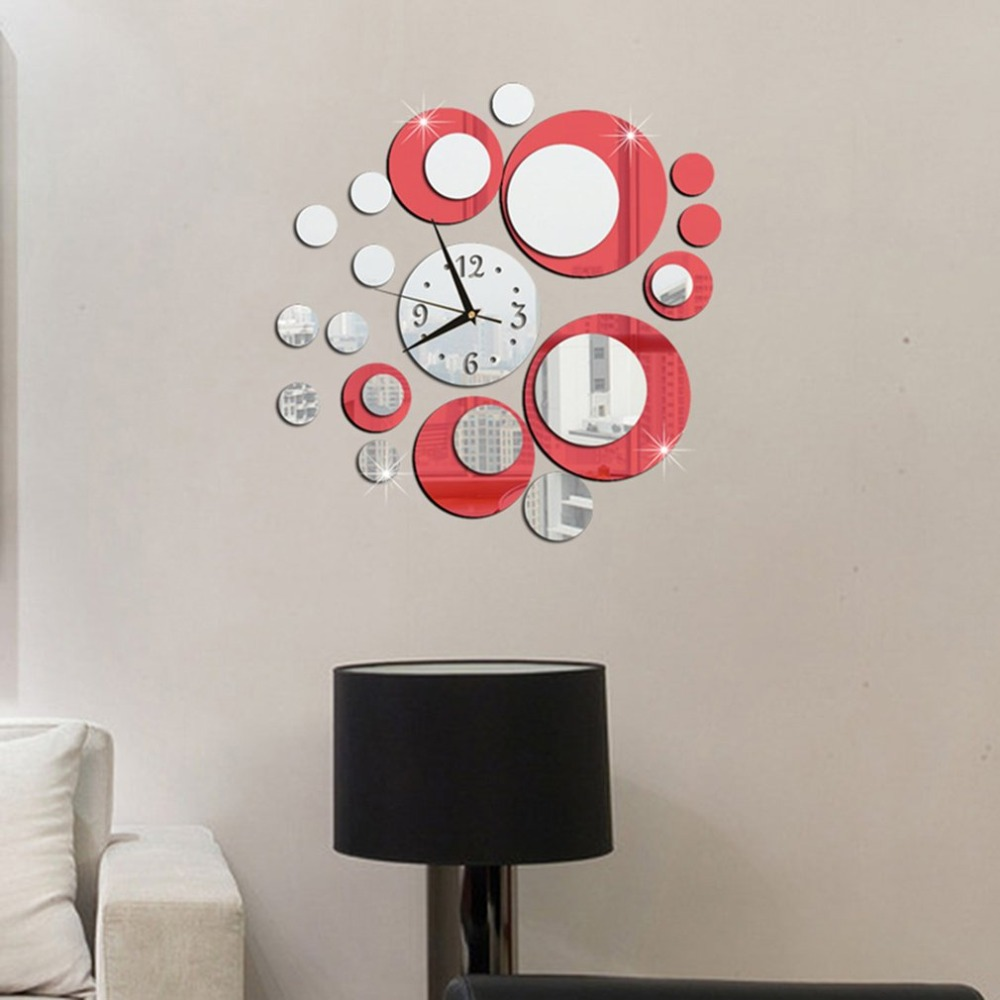 Acrylic Round Circle Sticker DIY Needle Quartz Wall Clocks For Home Living Room Minimalist Wall Clock Fashion 3D Mirror Clock