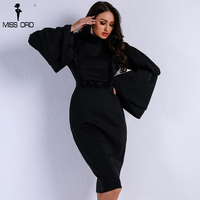 Missord 2018 Sexy Fashionable Fungus Side Speaker Sleeve Dresses Female Elegant Red/Black Color High Neck Bodycon Dress FT9167 1