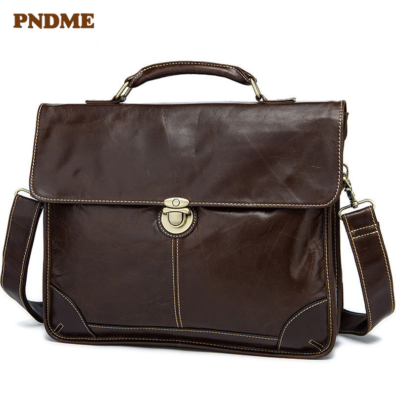 PNDME High Quality Business Casual Genuine Leather Men's Briefcase Simple Office Handmade Soft Cowhide Hasp Laptop Bag Work Bags