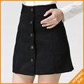 2017 новый корейский стиль моды высокого качества осень зима ряд кнопок вельвет дамы vintage теплые короткие юбки #0248