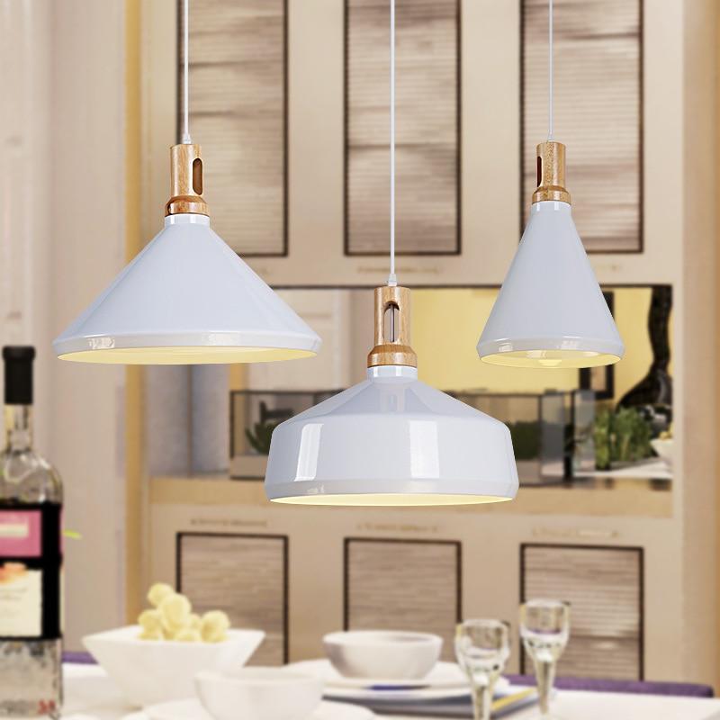Nordic modern simple aluminum wood restaurant lamp creative bar counter cafe single head LED chandelier