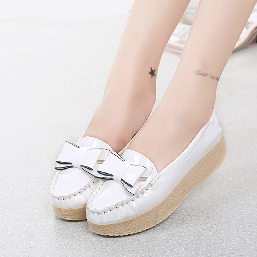 Four Colors Fashion Style Women Flats Bowtie Round Toe Slip-on Female Shoes Spring Summer Solid Casual Wear Sweet Looking Cozy plus size 34 41 black khaki lace bow flats shoes for womens ds219 fashion round toe bowtie sweet spring summer fall flats shoes