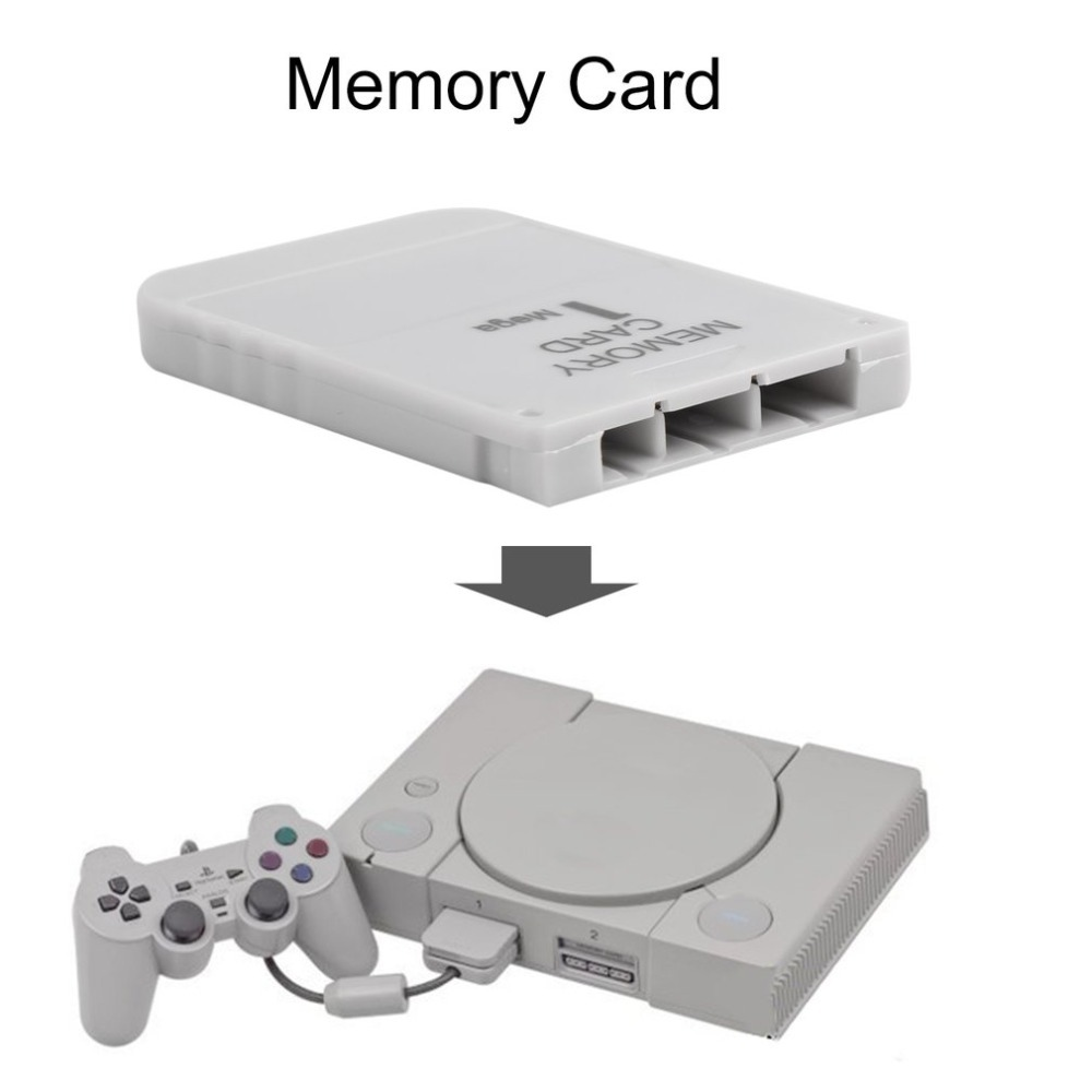 PS1 Memory Card 1 Mega Memory Card For PlayStation 1 One PS1 PSX Game Useful Practical Affordable White 1M 1MB image