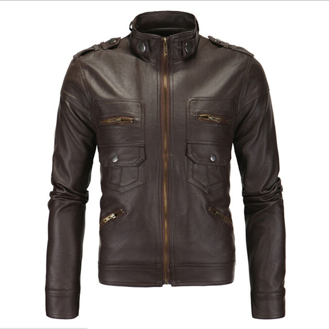 NEW 2016 Autumn Men's Fashion Stand Collar Motorcycle Leather Jacket British Male Business Casual Zipper Jackets