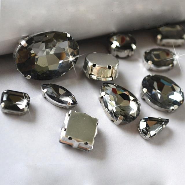 Sewing Craft Claw Rhinestone Water Drop Black Diamond 8mm 8x13mm 10x14mm 13x18mm Evening Dress Decorations Sewing On Rhinestones