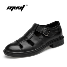 Купить с кэшбэком Genuine Leather Casual Shoes Men Summer Breathable Holes Flats Shoes Hollow Out British Footwear Men Shoes Sneakers Dropshipping