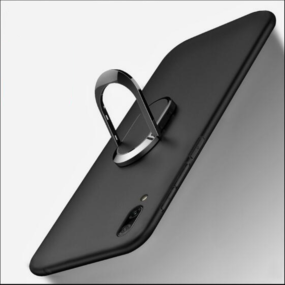 Cover For Cubot X19 DOOGEE Y8 Case luxury Soft Black Silicone Magnetic Car Holder Ring Coque For Doogee Y7 N10 Y8C Y8 Plus Cases image