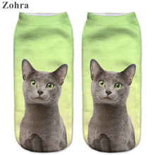 Zohra New style Cats 3D Printing Sock Women's Unisex Cat Low Cut Ankle Socks Cotton Hosiery Printed Casual Socks