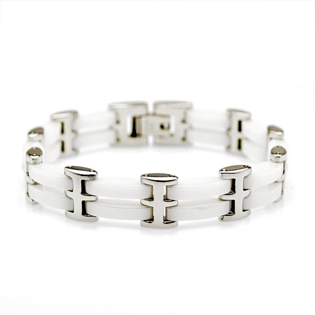 Frete Grátis White High-tec Ceramic Bracelet Mulheres Jóias Anti-alérgico de Aço Inoxidável 316L Charme Unisex Pulseira CE004B
