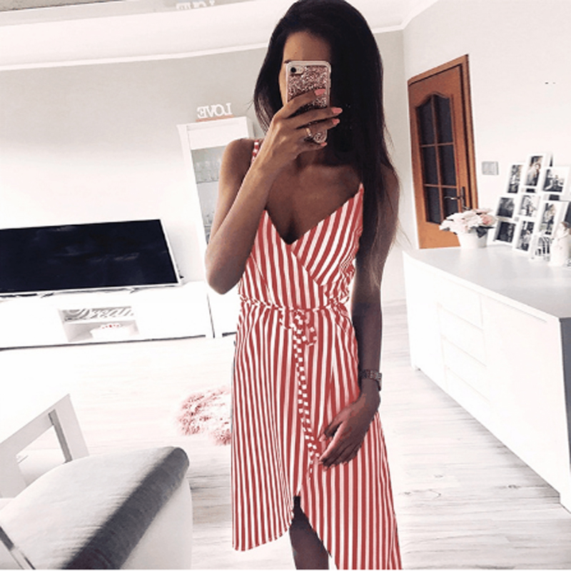 Fashion Women 39 s Dress Summer New Women 39 s Sexy Striped V neck Dress Together Party Party Women 39 s Halter Lrregular Sling Dress in Dresses from Women 39 s Clothing