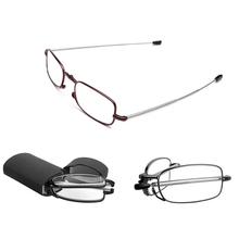 Bezpłatna dostawa 2016 MINI Design okulary do czytania mężczyźni kobiety składane małe okulary rama czarne metalowe okulary z oryginalnym pudełku tanie tanio NoEnName_Null Jasne Unisex Gradient 4 5inch Z tworzywa sztucznego 48073 Stop 2 7inch Resin