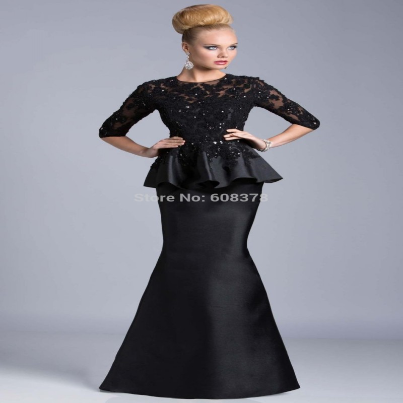 2015 New Arrival Free Shipping Sexy Sparkle Lace Black Peplum