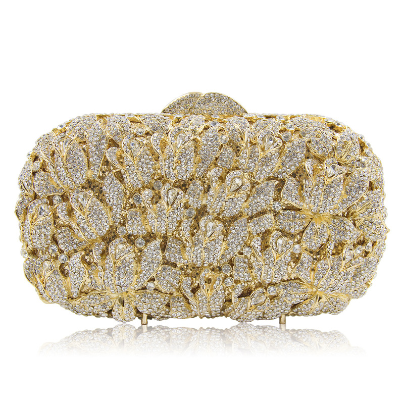 High-end Gold Luxury Diamond Flower Evening Clutch Bag Bridal Wedding Sparkly Rhinestone Cocktail banquet Bag pochette Purse