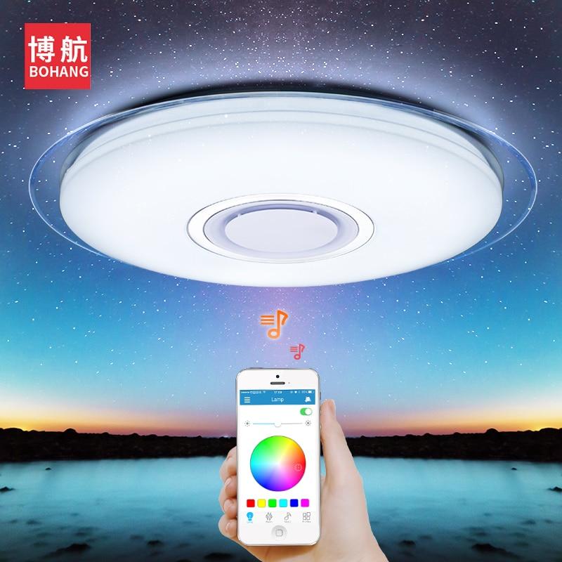Moderno Luz de teto CONDUZIDA RGB Dimmable 52 W controle APP Bluetooth & Música luzes de teto que vivem para sala/quarto 220 V lâmpada do teto