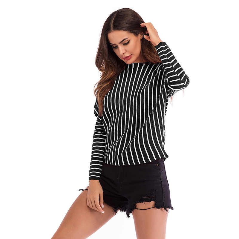 Echoine Pullovers Striped Sweater Knitting Casual Top Women Black/White/Red Long Batwing Sleeve Autumn Knitwear Sweaters M-XL