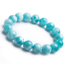 12mm Genuine Blue Natural Larimar Bracelet Healing Crystal Gemstone Stretch Round Bead Stone AAAAA