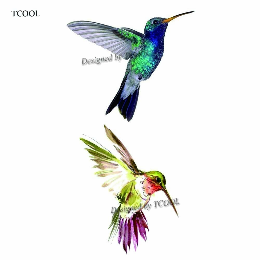 HXMAN Watercolor Hummingbird Temporary Fake Tattoo Body Art Sticker Waterproof Hand Tattoo For Men Hot Design 9.8X6cm A-330