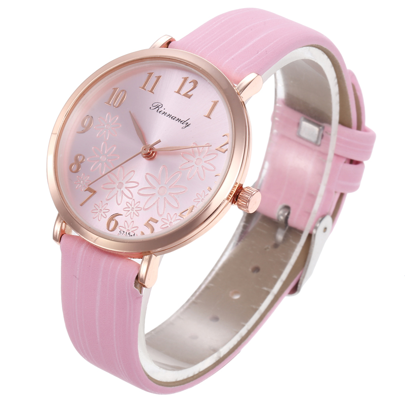 Flower dial Watches Quartz Women Watch Denim Simple Leather Strap Casual Analog Ladies WristWatch Relogio Feminino