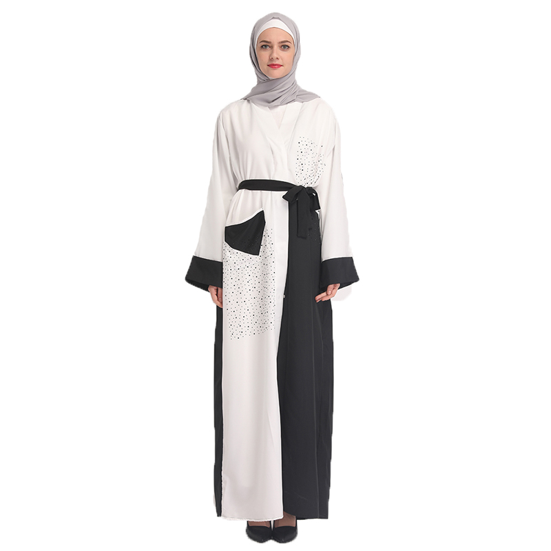 Arab Abaya Women Black and White Stitching Chiffon Caftan Muslim Female Diamonds Kaftan Dresses with Scarf