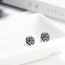 HOMOD Silver Color Shimmering Rose Petals Flower Brand Stud Earrings Fashion Women Jewelry