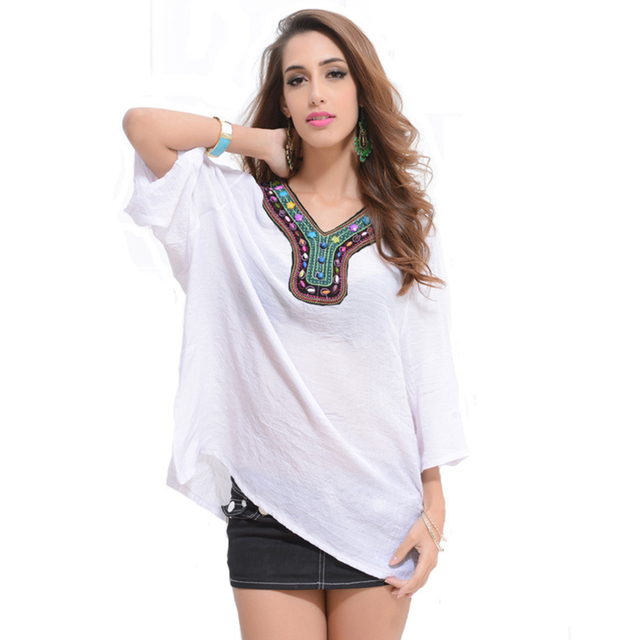 3Xl India Style Ethnic Tops 2015 Women V Neck Collar -5336