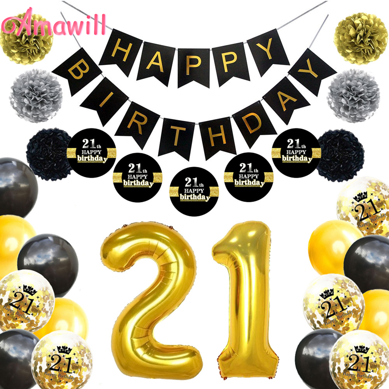 Amawill Gold Black 21st Birthday Party Decorations Kit Happy Banner Confetti Balloons 21 Years Old Adults 8D