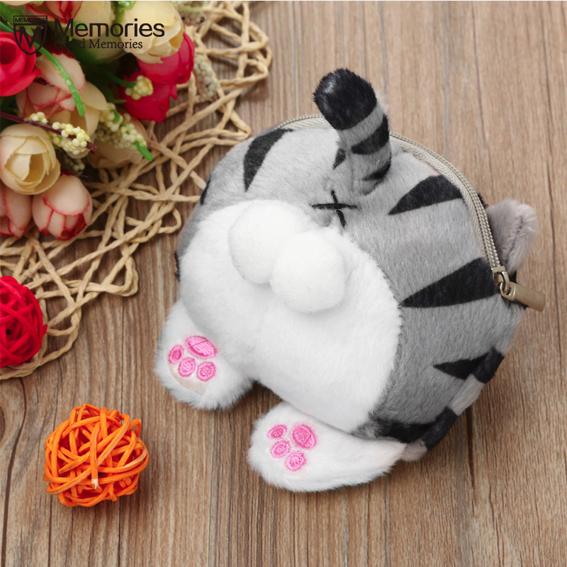 Women Coin Purses For Girls Wallet Cute Cat Butt Tail Plush Clutch Fashion Short Business Credit Card Pocket Case Carteira Gift