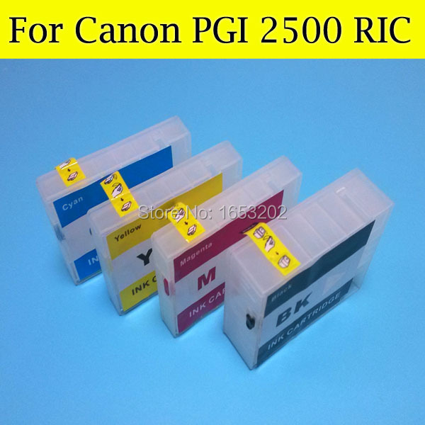 ФОТО Refillable Ink Cartridge for Canon PGI2500 PGI 2500 PGI-2500XL Ink Catridge for Canon MB4050 MB5050 MB5350 Printer with arc chip