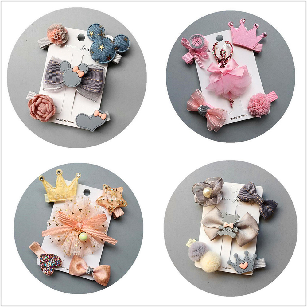 Update 5pcs/set flowers Bowknot Hairpins children stars Cartoon hair clips kids girls handmade Barrettes Accessories headwear T3