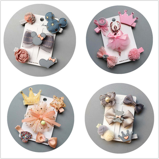 Update 5pcs/set flowers Bowknot Hairpins children stars Cartoon hair clips kids girls handmade Barrettes Accessories headwear T3