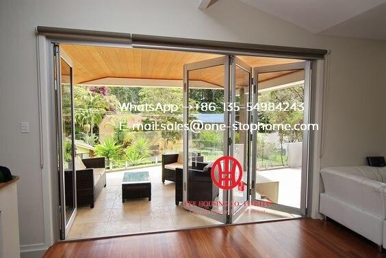 Normes australiennes double vitrage lowes bi porte pliante/accordéon aluminium verre patio extérieur à deux volets portes/bi-pli