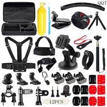 QQT per Gopro Accessories Helmet Harness Bracelet Headband Brace Belt Monopod Go pro hero5 4 3+ xiaomi yi SJ4000