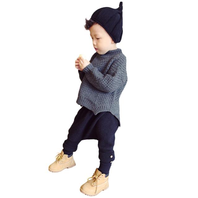 Novos Meninos Inverno Camisola Cor Sólida Roupas Infantis Menino Criança Roupas Menino Camisola das Crianças Com Irregualr Hem