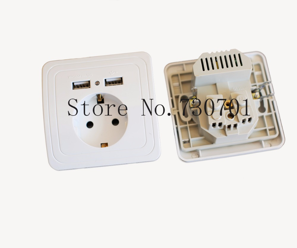 2019 Crystal Glass Panel Dual USB Charging Port 2 1A Wall Charger Adapter 16A EU for Home Hotel business Officer in Electrical Plug from Consumer Electronics