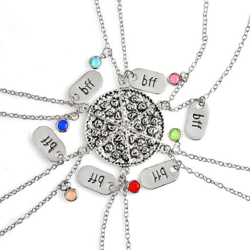 New Trendy Best Friends Alloy 6 Färgläggda Crystal BFF Hängsmycke Halsband 6 st / set Stitching Pizza Halsband Smycken