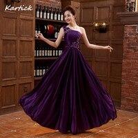 紫色のイブニングドレス新しいエレガントなワンショルダープリンセス花嫁ガウンロングボールウエディングパーティー帰郷/卒業フォーマルドレス