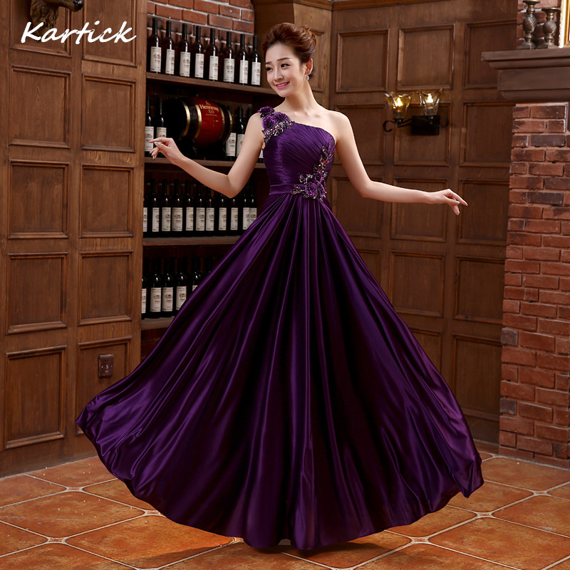 Purple Bridesmaid Dresses New Elegant One Shoulder Princess Bride Gown Long Ball Prom Party Homecoming/Graduation Formal Dress